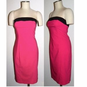 VTG 90s Hot Pink & Black Body Con Strapless Dress